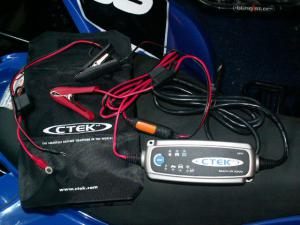 The versatile CTEK MULTI US 3300 charger comes with clamps and screw-on leads.