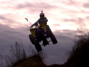 This quad has more than enough power to catch a little air.