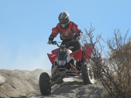 Climbing down a rocky hill like this was a good test of the independent rear suspension.