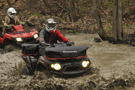 The Kawasaki Brute Force 650 didn�t get bogged down with water. We can�t say the same for our boots.