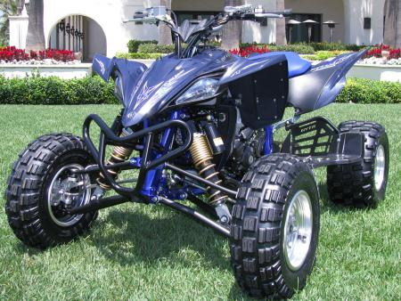 The muted blue plastic and GYTR heel guards make the YFZ450R SE stand out.