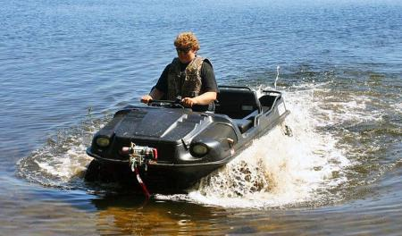 Thanks to its watertight body, the Argo can cross bodies of water that just aren�t possible in a typical ATV.