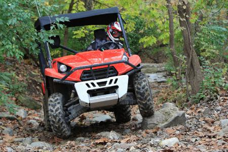 With nearly a foot of ground clearance and a stable handling, the Teryx is a blast to throw around the rocky trails.