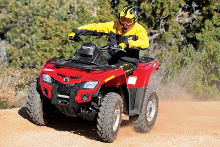 Can-Am's front suspension is supple, controllable and tunable.