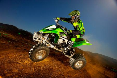 The KFX450R is available in Bright White or the more familiar Lime Green.