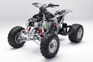 Here�s a look at the KFX450R without its clothes.
