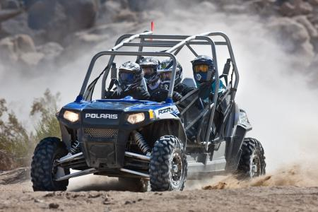 The RZR 4 features Fox Podium X 2.0 piggyback reservoir shocks with 12 inches of travel.
