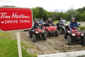 Tim Horton's is an institution in Canada for coffee and donuts. In Elliot Lake you can zip through the drive-thru on your ATV!