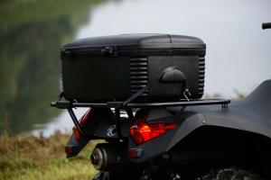 The rear cargo box takes up much of the storage rack, but it�s a great for keeping your gear out of the elements.
