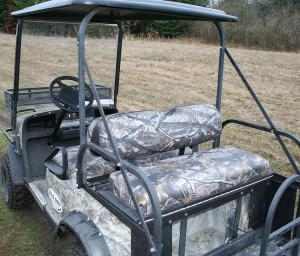 Outfitted with camouflage patterns, Bad Boy Buggies are a hit with hunters.
