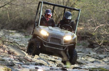 The Ranger 400 was right at home crawling through a rocky creek.