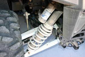 Five-way preload adjustable Fox Podium shocks are found at each corner.