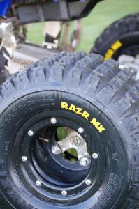 Here�s the outside of the ITP Trac-Lock wheel with black beadlock ring.