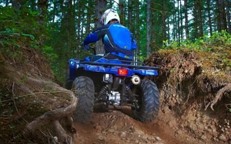 With almost 11 inches of ground clearance, the Grizzly 450 is able to safely pass over most obstacles.