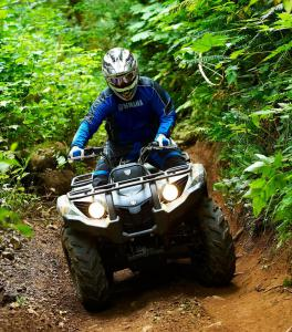 The Grizzly 450 was right at home on the heavily wooded trails of the Capitol State Forest.