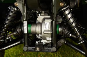 Yamaha�s rear wet brake is encased in the rear differential, out of reach of water, mud, and trail debris.