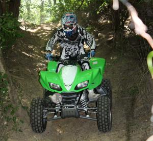 Engine braking will help slow the big sport quad down on descents, but the throttle must be engaged.