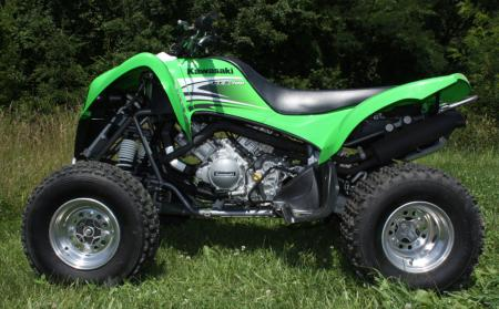 The KFX700 is a sporty trail machine with utility lineage.