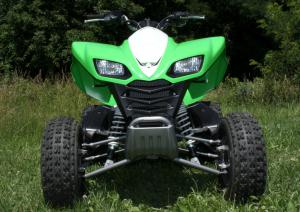 Even with more than nine inches of travel up front and eight inches in the rear, the KFX700 offers a fairly firm and sporty ride.