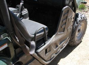 Rotomolded lower doors keep you in and critters out when riding in the desert.