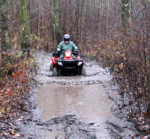 Extreme water-swollen trails won�t stop the X2 when it comes to playing in the rain.
