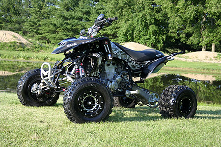 The fully modified 2008 Yamaha YFZ450 in all its glory.