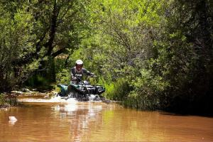 The Grizzly 550 has no trouble rolling through deep water.