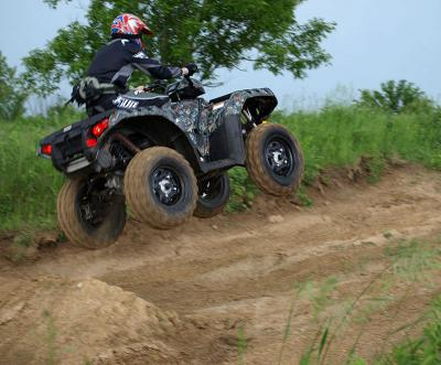 ATV.com editor Lucas Cooney has a little fun on the 2009 Sportsman XP.