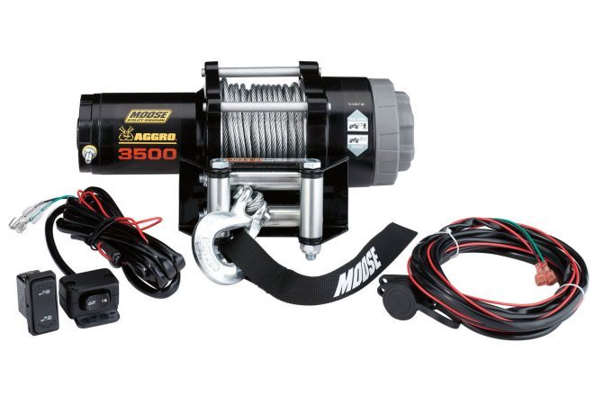 This 3500 lb Aggro winch from Moose Utility Division can be used for either ATVs or UTVs.