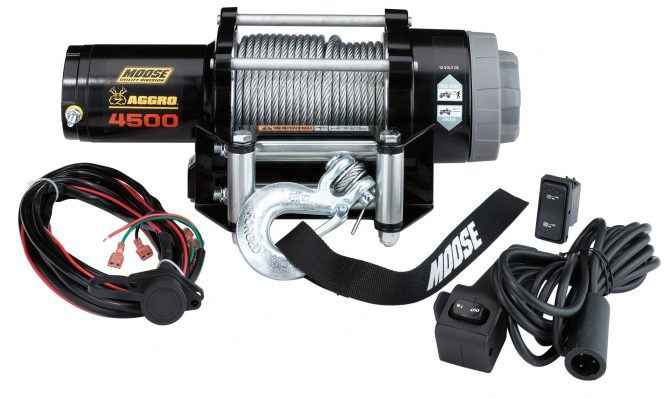 The 4500 lb Aggro winch from Moose Utility Division is specially designed for UTVs.