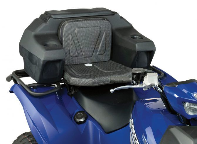 The Helmet Storage Rear Trunk from Moose Utility Division also features a comfortable backrest and seat cushion.