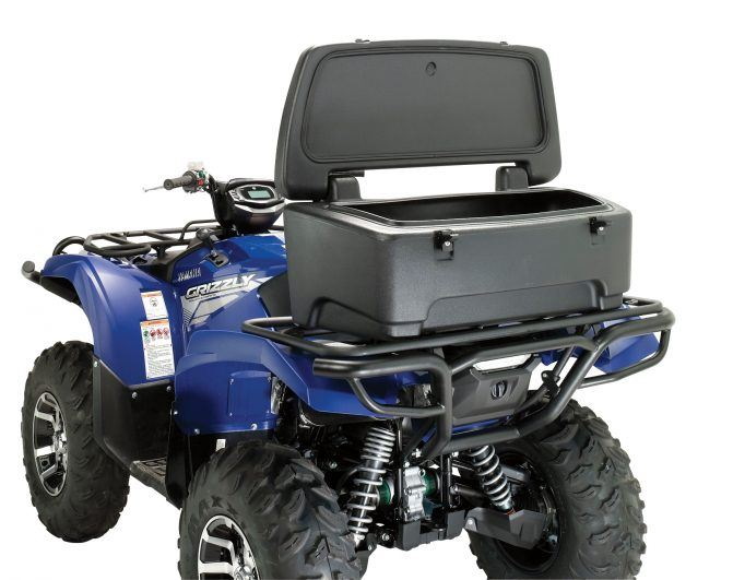 Moose Utility Division storage solutions include this Rear Storage Trunk is made from polyethylene hard plastic.