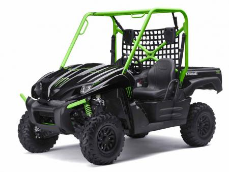 The Monster Energy Teryx features black and green paint, blacked-out rims and Monster Energy graphics.