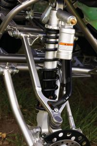 """New, fully adjustable, piggyback SOQA shocks come standard on the new 2009 Raptor, adding 5mm of travel to the front suspension and providing a full 10.1"""" of travel in the rear."""