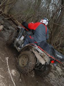 Even a steep and muddy incline proved no trouble for the Brute Force 650.