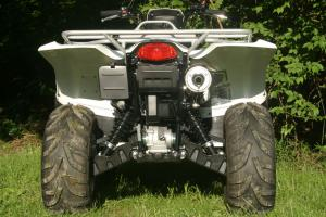 Front and rear shocks on the KingQuad 750 are five-way preload adjustable.