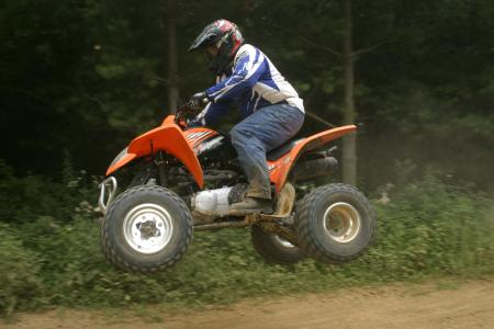 The peppy 270cc mill provides enough power to get all four wheels off the ground.