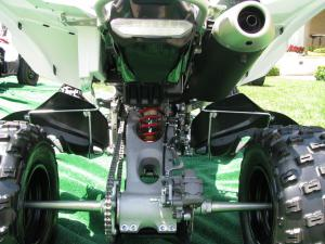 Rear suspension is exactly the same as on the YFZ450R, but note the narrower rear axle.