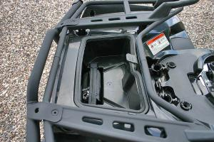 This handy sealed storage compartment is found under the rear rack.