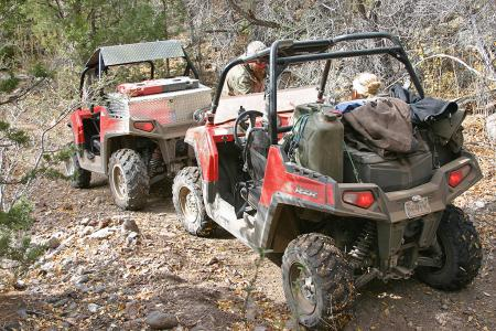 It may be a sport machine at heart, but the RZR can still haul the goods for a long trip.