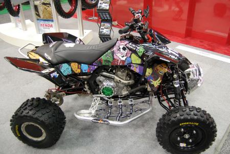 In addition to the Zombie graphics, the green clutch cover really makes this ATV pop.