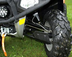MacPherson strut has been replaced with easier steering double A-arm front suspension.