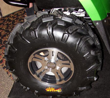 To get 14-inches of clearance, the Mud Pro relies on suspension changes and these 28-inch tires.