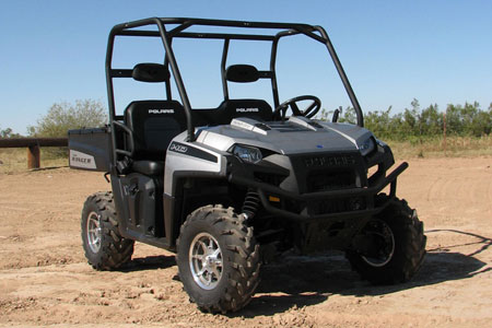 The 2009 Polaris Ranger HD comes resplendent in silver with chrome-styled wheels.
