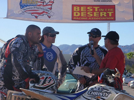Steve Abrego, Andy Lagzdins and Craig Christy on the podium at the Primm GP.
