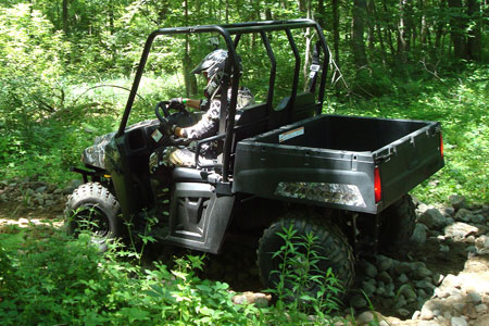 The Ranger 400 is narrow enough to fit in the back of a pickup truck.