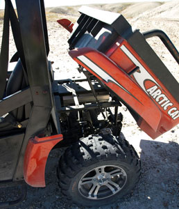 The XTZ dump box can handle up to 600 pounds of cargo.