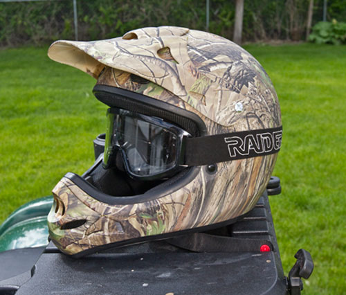 ATV Camo Helmet and Goggles