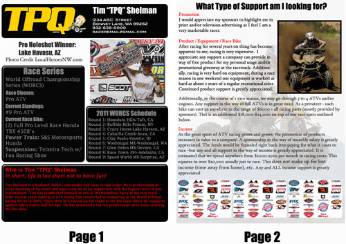 sponsorship resumes motocross resumes websites by