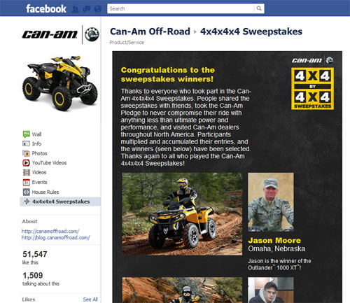 Can-Am Off-Road ATV Sweepstakes Page